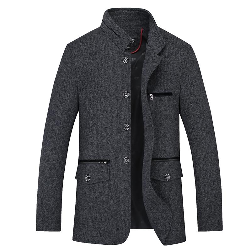 特价新款中年男士外套宽松休闲中长款夹克冬装中老年春秋爸爸装