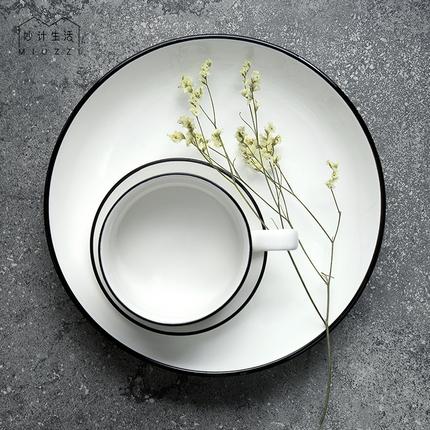 妙计生活黑线陶瓷盘子菜盘家用牛排盘欧式西餐盘餐具早餐盘碟