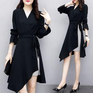 大码连衣裙女装2021春季新款胖妹妹黑色V领宽松显瘦中长款裙子女