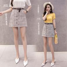 8851#2018春夏新款高腰显瘦格子排扣包臀裙半身裙(送腰带)