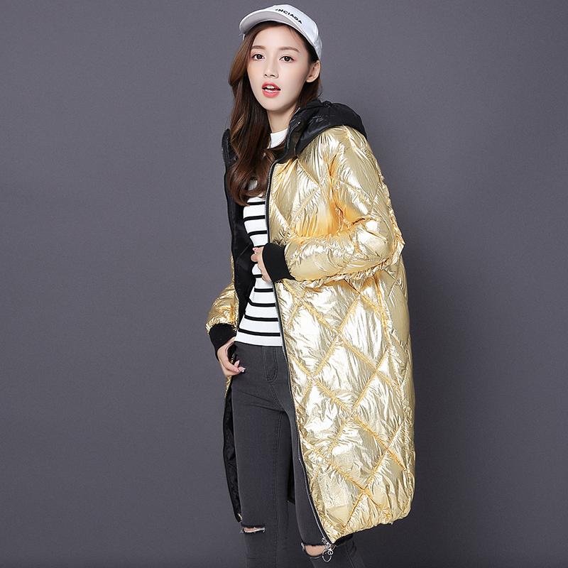 Giải phóng mặt bằng Châu Âu trạm xuống cotton của phụ nữ mì tươi sáng lỏng kích thước lớn áo dài mùa đông thời trang dày áo triều