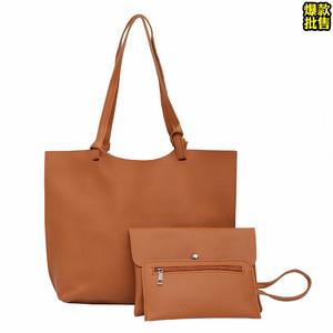 新款子母包大包包女士欧美时尚荔枝纹纯色单肩斜挎包百搭磁扣女包