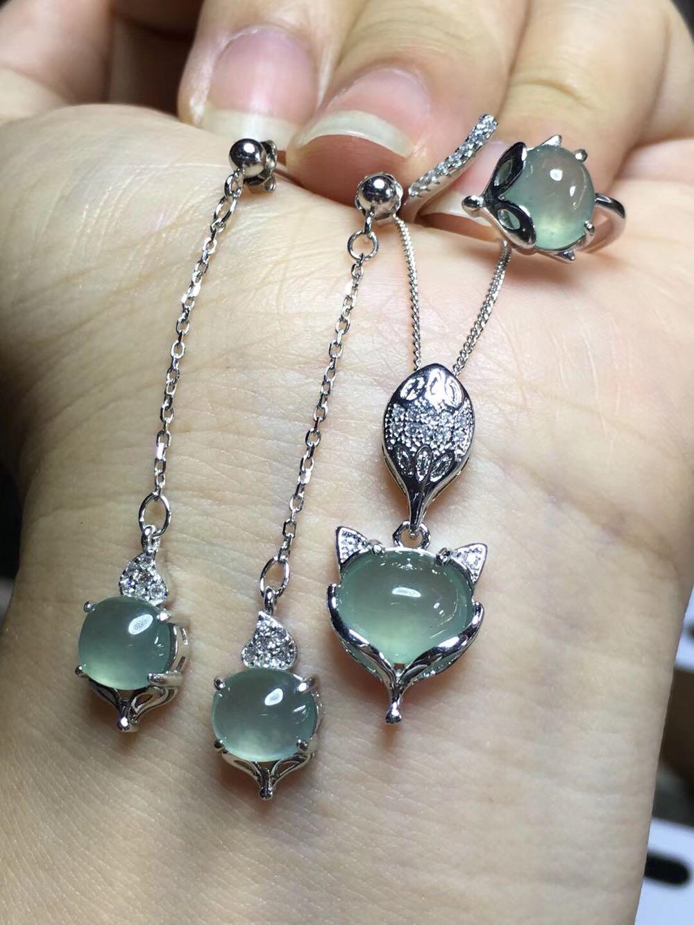 s925银镶嵌 缅甸翡翠a货冰种蛋面三件套 戒指耳钉吊坠 玉石珠宝