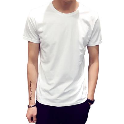 Nam ngắn tay áo thun kích thước lớn mùa hè vòng cổ đáy áo trống màu trắng tinh khiết màu trắng tinh khiết màu đen tay- sơn Hàn Quốc phiên bản tự tu luyện