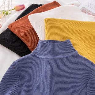 韩版新款紧身半高领套头毛衣女