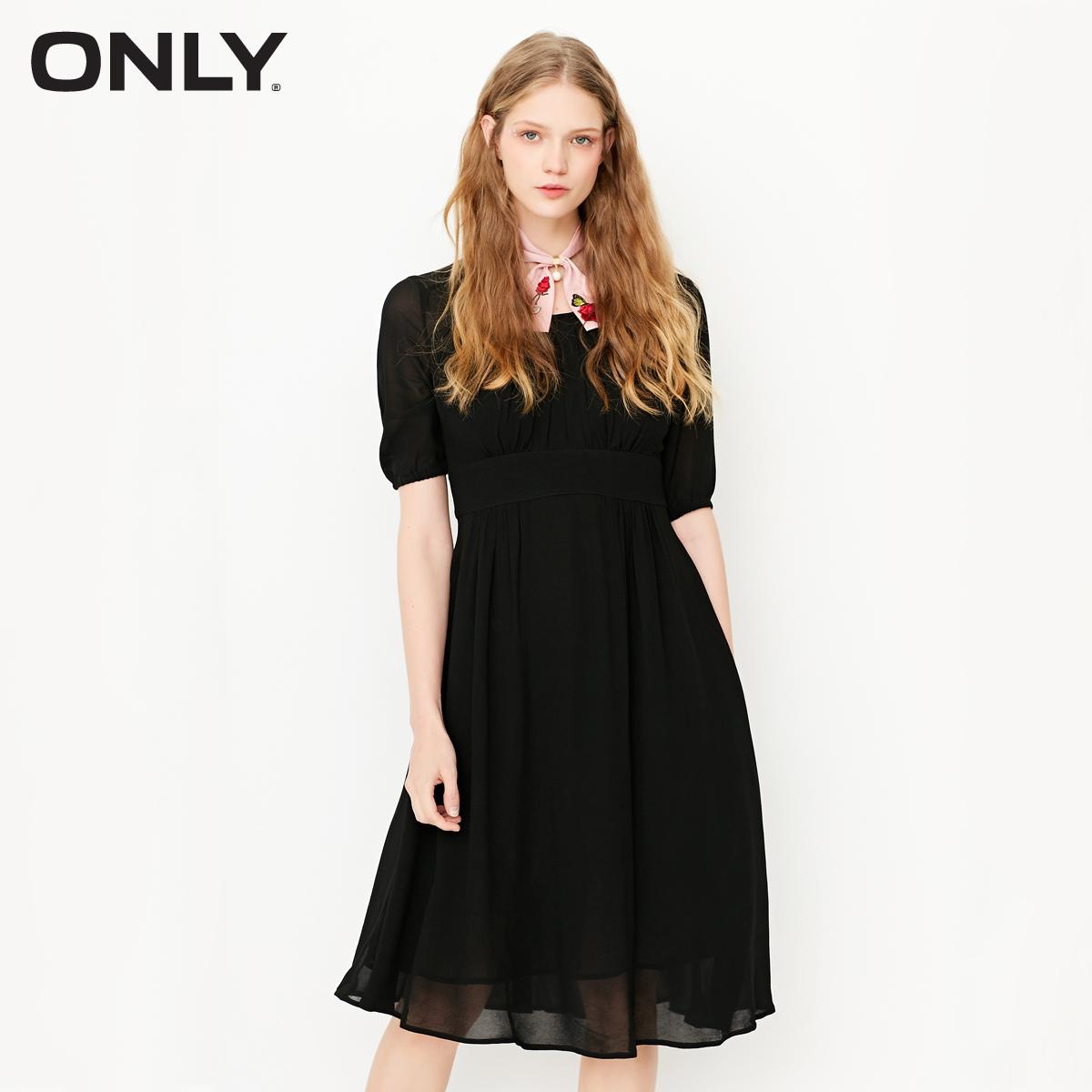 Chỉ đầu mùa xuân mới vòng cổ gấp thiết kế chiffon cao eo váy nữ -116207537