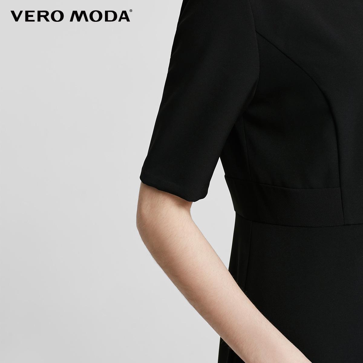Vero Moda mới đơn giản thẳng ngắn tay đầm | 31716Z526
