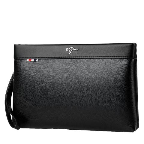 正品巴诺袋鼠时尚男士手包大容量软牛皮信封包手拿抓包休闲男夹包