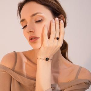 钛钢镀18k玫瑰金戒指女款食指戒指