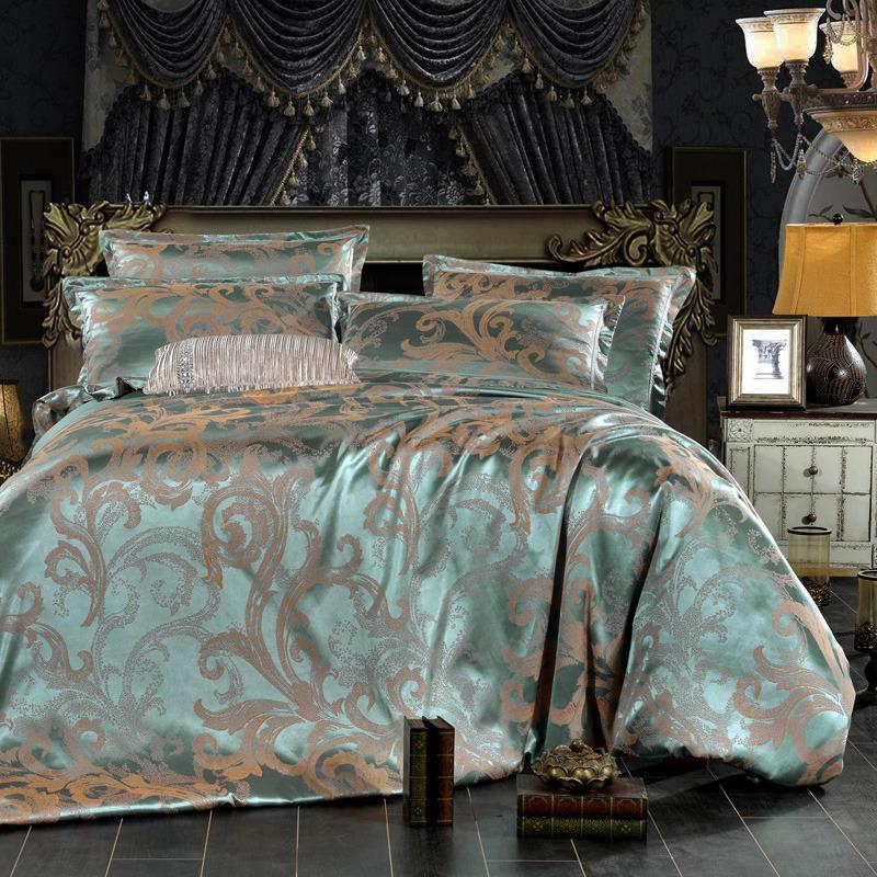 纯棉贡缎提花四件套床单被套双人1.8米全棉婚庆四件套床上用品