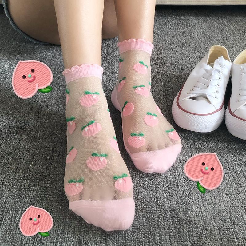 韩国水晶丝袜女玻璃丝中筒袜ins潮短袜日系可爱透明短袜夏季薄款