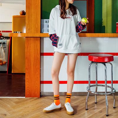 3双荧光条纹袜绿色袜子女中筒袜ins潮嘻哈百搭长袜街头纯棉薄款