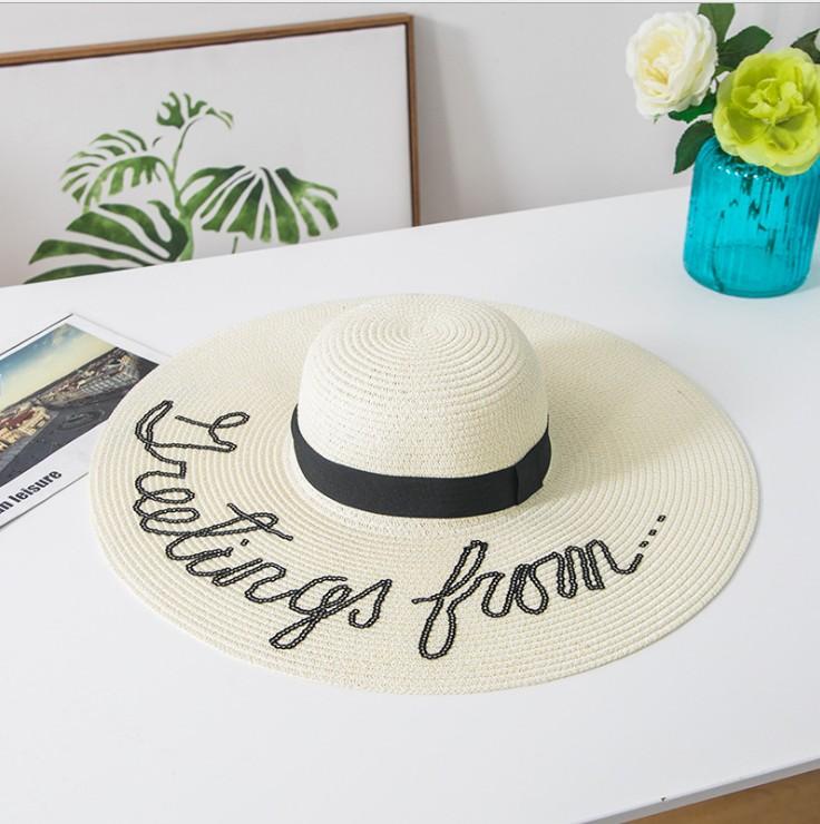 安迪同款帽子字母亮片大檐草帽海边度假沙滩帽防晒遮阳帽001#