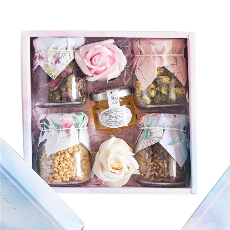 实用惊喜走心礼物中秋节送长辈玻璃罐装玫瑰胎菊组合花茶礼盒伴手
