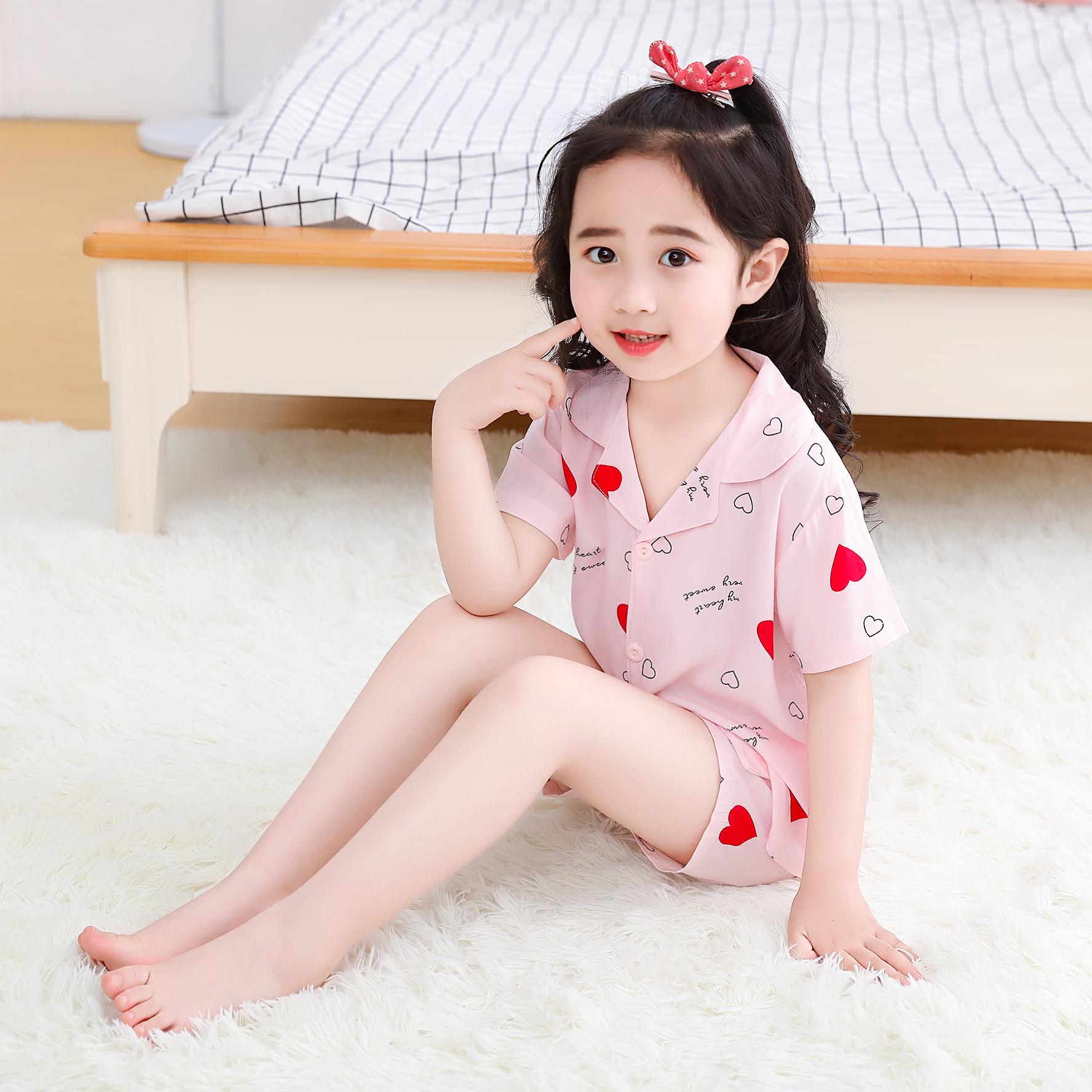 纯棉儿童男女童睡衣夏季短袖套装中大童小孩女孩子公主宝宝家居服