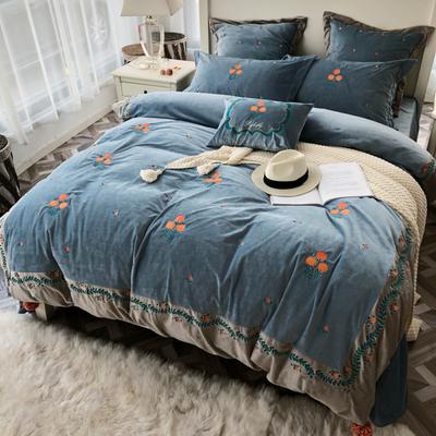欧式风超柔加厚宝宝绒四件套双面珊瑚绒法莱绒被套绣花法兰绒床品