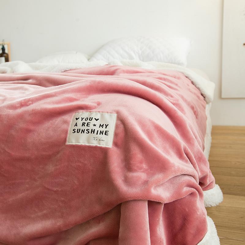 双层羊羔绒法兰绒毯冬季加厚毛毯ins网红珊瑚绒毯单双人沙发毯子