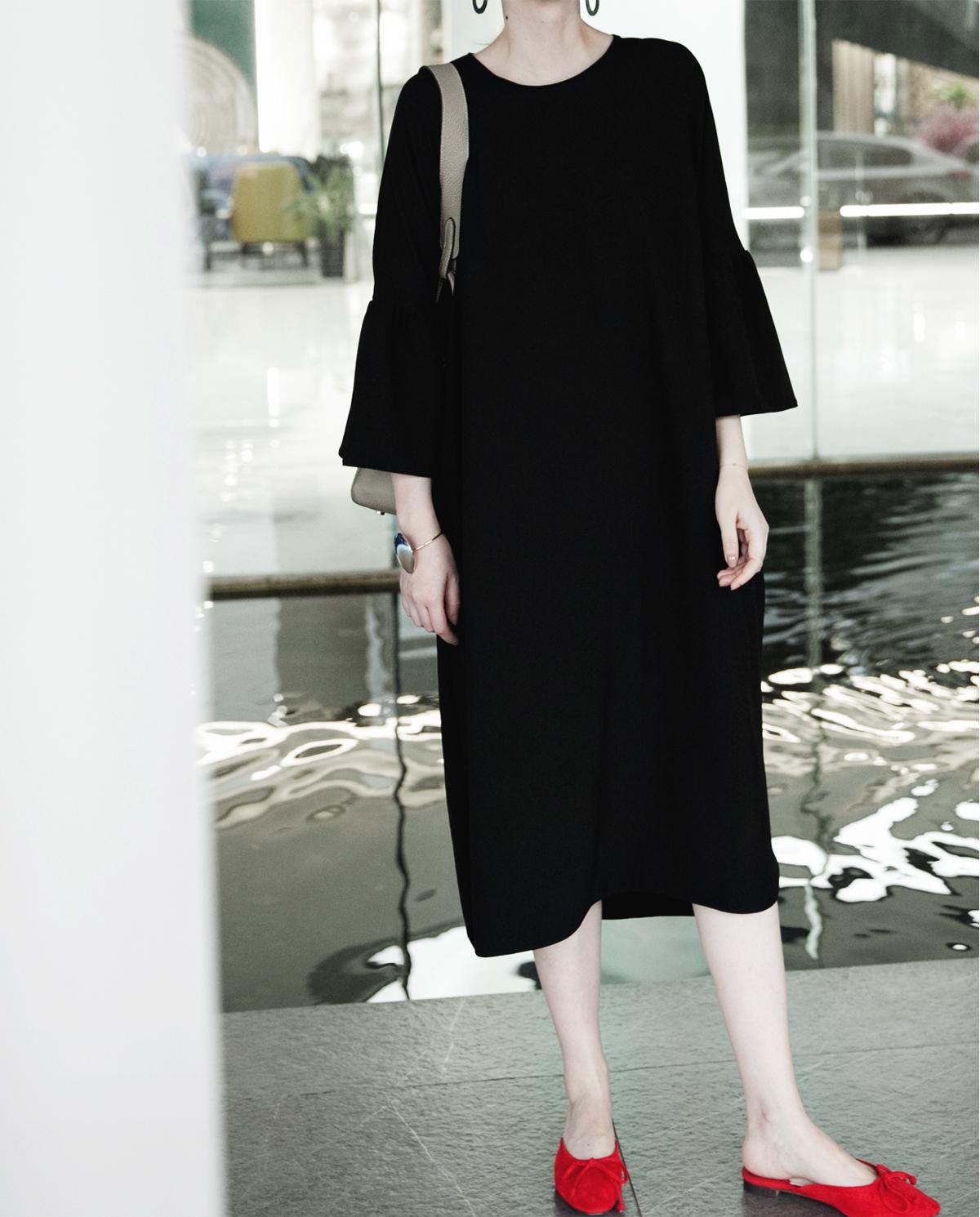 PKH.HK mùa hè mới thời trang phong cách xù tay áo lỏng lẻo cảm thấy Arc Swing Dress