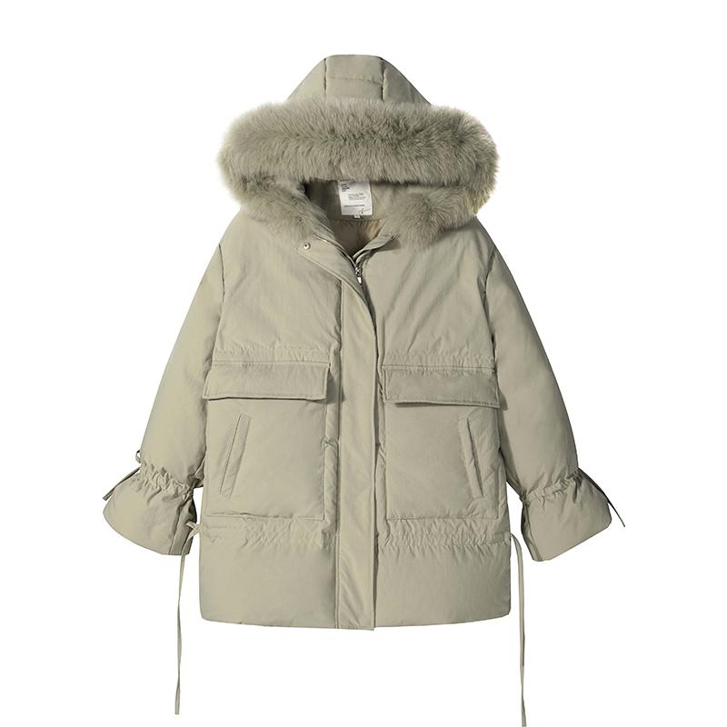 Sơn Đông mùa đông mới eo dày dài áo macarons lớn con cáo lông cổ áo xuống áo khoác phụ nữ