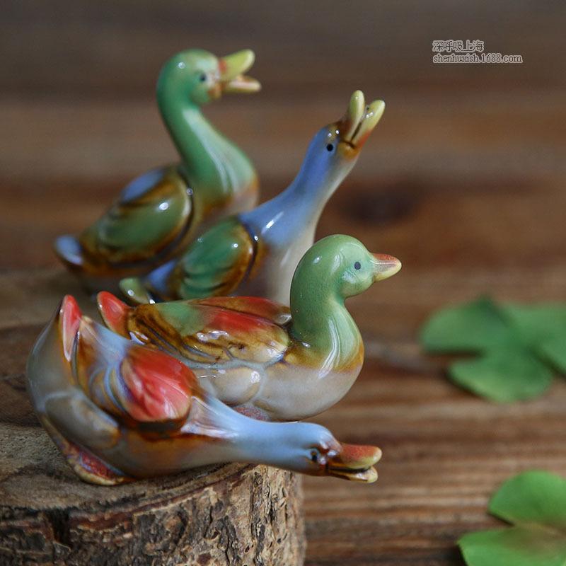 创意彩色陶瓷鸭子摆件组合 鱼缸盆景装饰品 杂货 陶瓷工艺品