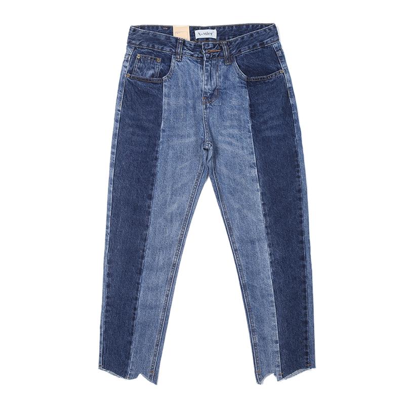 中缝深浅撞色拼色直筒牛仔裤女九分高腰不规则毛边显瘦chic阔腿裤