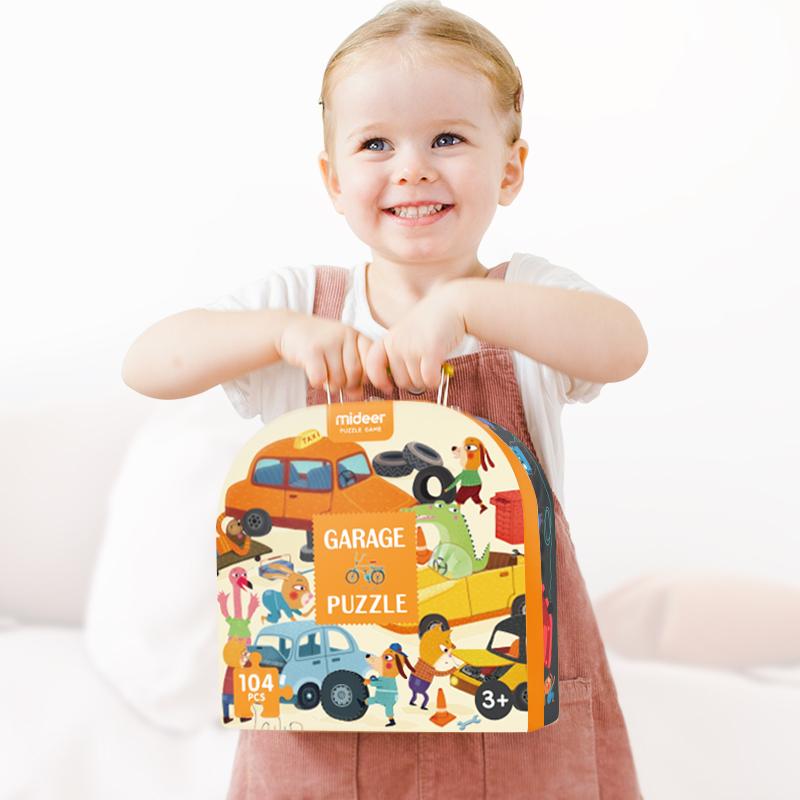 弥鹿儿童交通款汽车手提礼盒益智纸质拼图