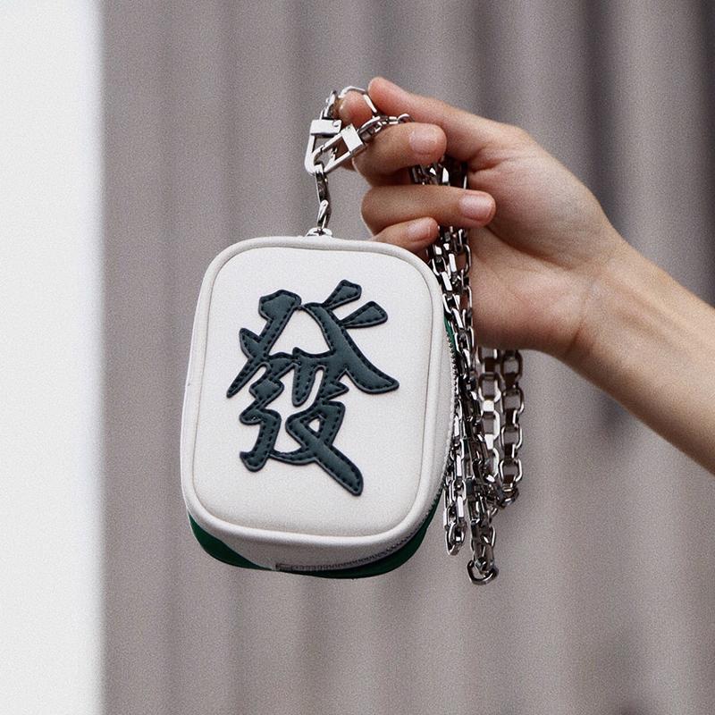LAOGUI老鬼原创中国风小众腔调设计师麻将发财钥匙包零钱包真皮