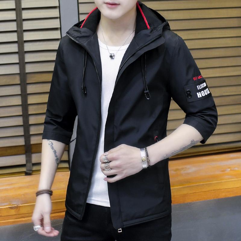 祖玛珑男士外套春秋新款韩版休闲修身帅气连帽冬装男开衫夹克衫