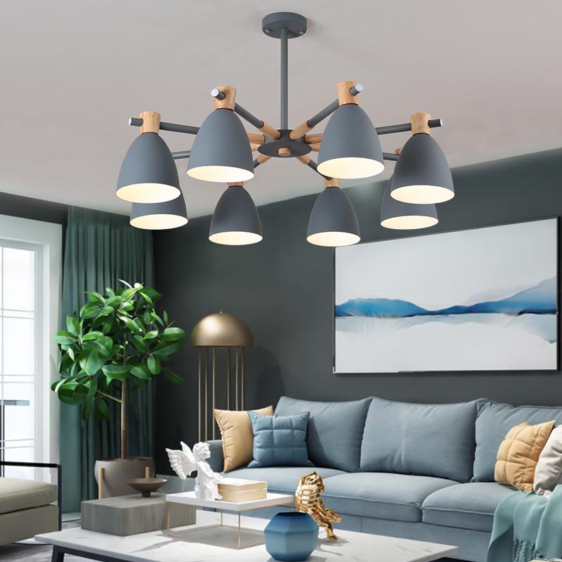 北欧灯具客厅灯简约现代家用卧室灯房间木艺马卡龙灯罩铁艺吸顶灯