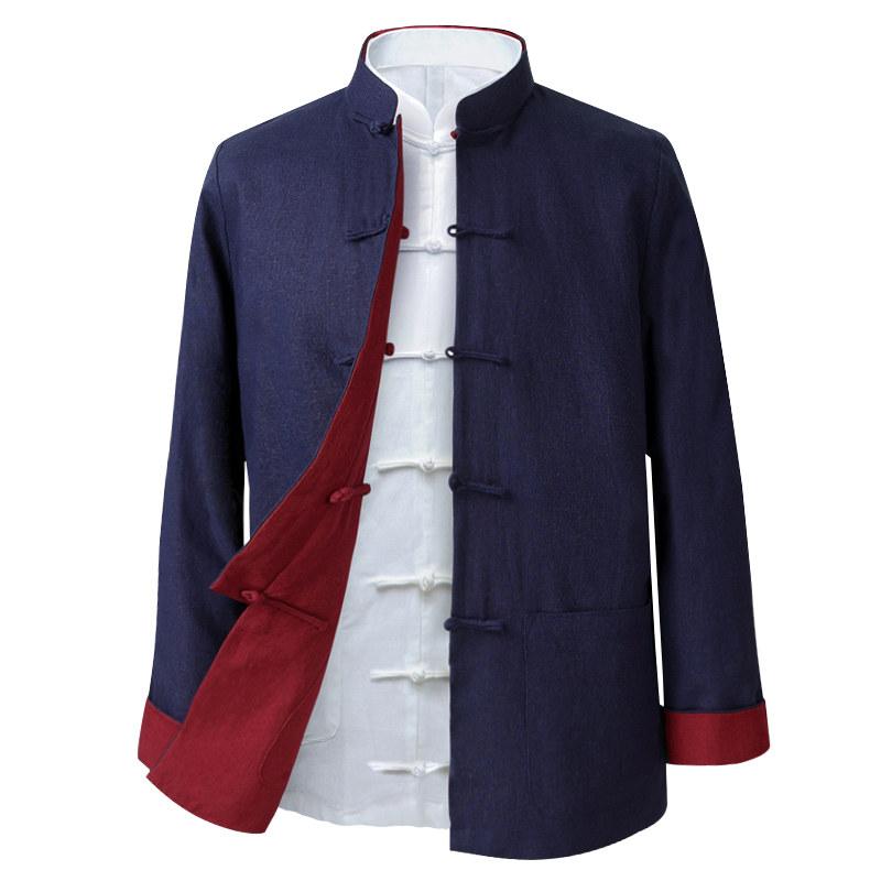 唐装男中国风双面穿夹克复古男装中式大码长袖上衣老粗布亚麻外套