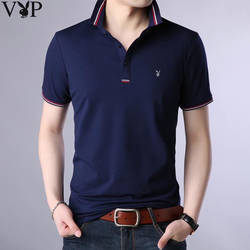 花花公子夏季韩版男士T恤男短袖 翻领修身体恤半袖衣服男装打底衫