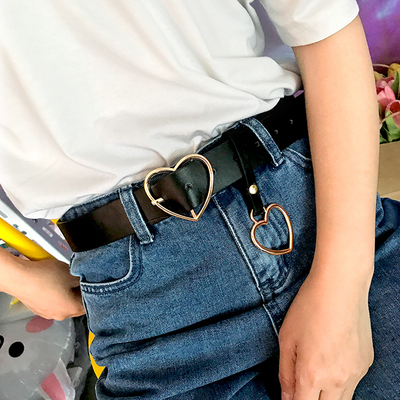 42agent Korean version of Harajuku peach heart ring love buckle black casual PU leather wild pin buckle retro heart-shaped belt belt - Taobao