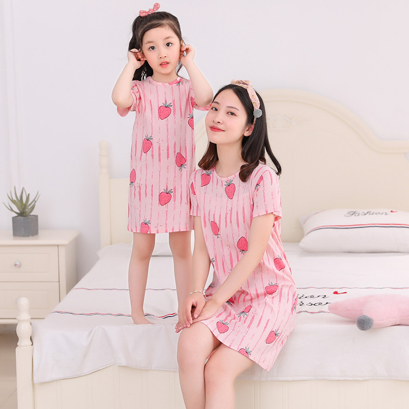 儿童睡裙短袖夏季女童装纯棉亲子宝宝薄款公主裙小女孩睡衣家居服