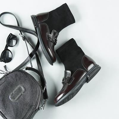 秋冬新品牛皮时尚街拍款舒适弹力绒中筒靴LS8428-3 SH5006