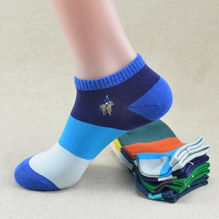 6双polo保罗袜子男士船袜纯棉低帮夏季薄款防臭彩色全棉运动短袜