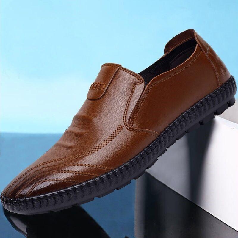 60男鞋春季新款休闲商务皮鞋时尚英伦韩版潮流懒人工作鞋爸爸鞋