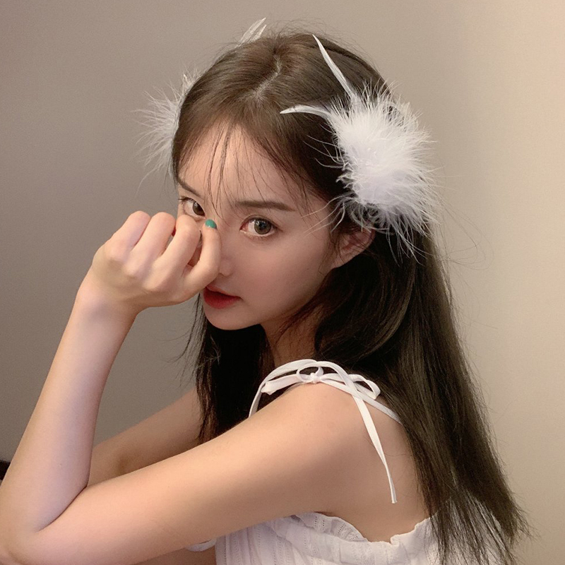 Super Fairy Feather Hairpin Korean White Headdress Net Red With Side Clips Hairpin Sen Fairy Hanfu Accessories