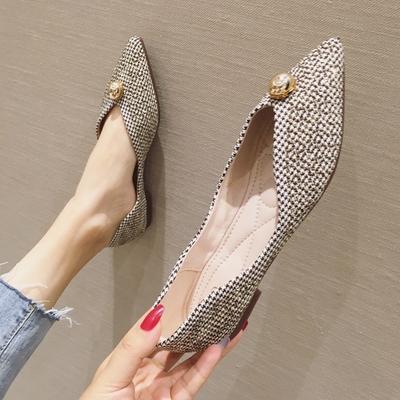 欧美风秋冬季时尚新款女鞋子大码布面尖头平跟平底浅口女单鞋