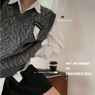 Ретро свободный v воротник вязание жилет женский осенний зимний новый безрукавный жилет свитер жилет жилет пальто куртка волна