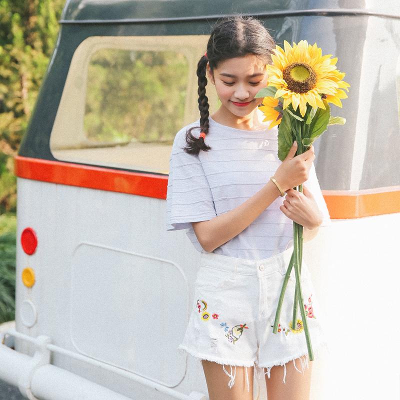 实拍962#夏装新款女韩版潮条纹短袖T恤宽松上衣纯色打底衫2