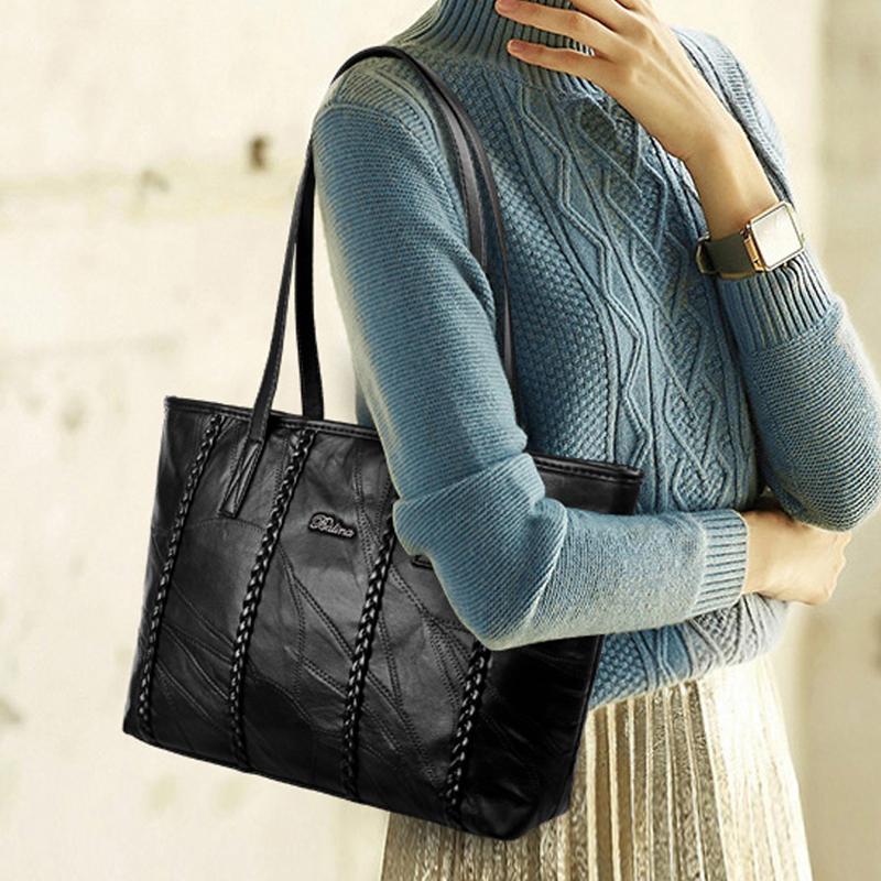 2018冬季新款羊皮女包单肩包手提时尚气质女包大容量休闲OL潮流包