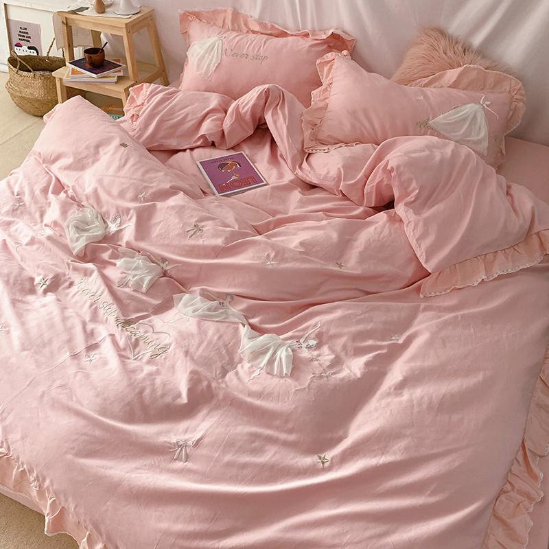 粉色女孩四件套纯棉儿童长绒棉1.2m单人三件套全棉公主风床上用品
