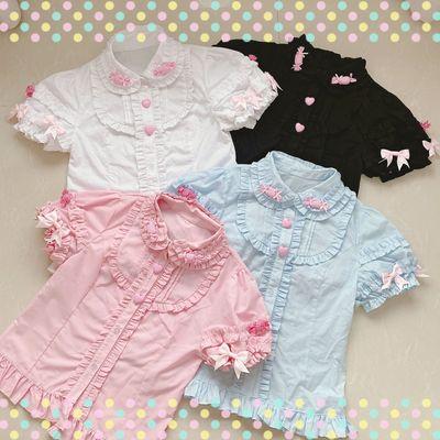 taobao agent 【New four groups yu appointment】Sweet girl lolita Lolita summer cotton short-sleeved shirt has been cut