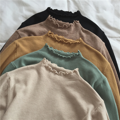 taobao agent Muzi Autumn 2021 / soft waxy skin-friendly, warm oil color! All-match slimming women's bottoming knit sweater with wood ears