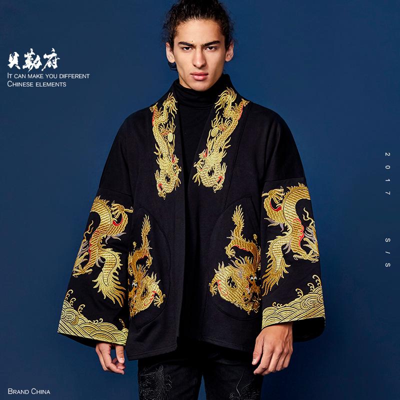 贝勒府中国风刺绣金龙袍外套男秋冬宽松大码和服大衣潮流嘻哈汉服