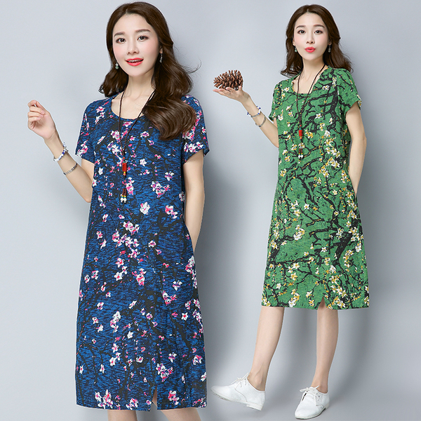 Summer Fashion Short Sleeve Loose Long Thin Casual Cover Belly Dress