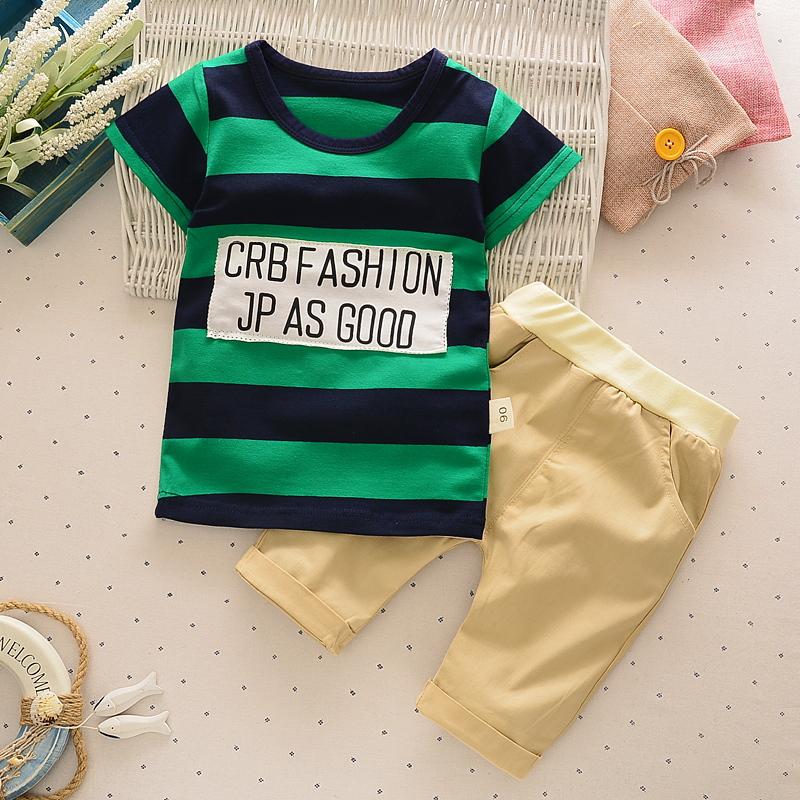 新款可爱男童女宝宝夏款短袖套装优惠100元包邮
