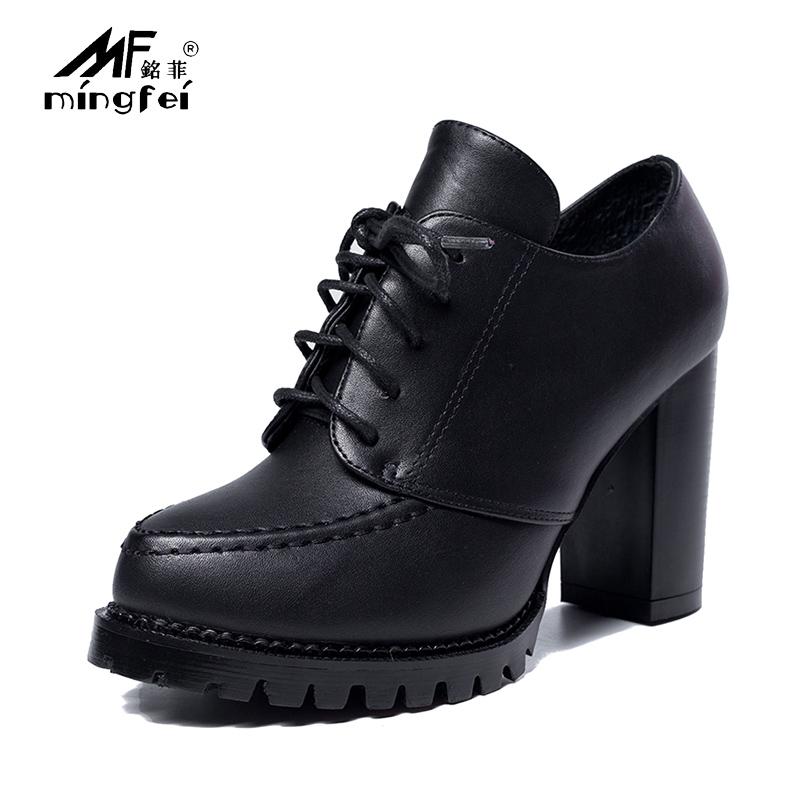 圣罗兰ysl粗跟单鞋系带黑色小皮鞋高跟鞋GPJ978