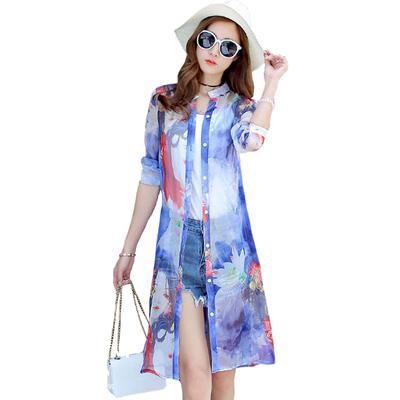 2018 new sun bảo vệ quần áo nữ phần dài bãi biển cardigan dài tay ren voan áo sơ mi bên ngoài áo khoác lỏng khăn choàng Áo sơ mi chiffon ren
