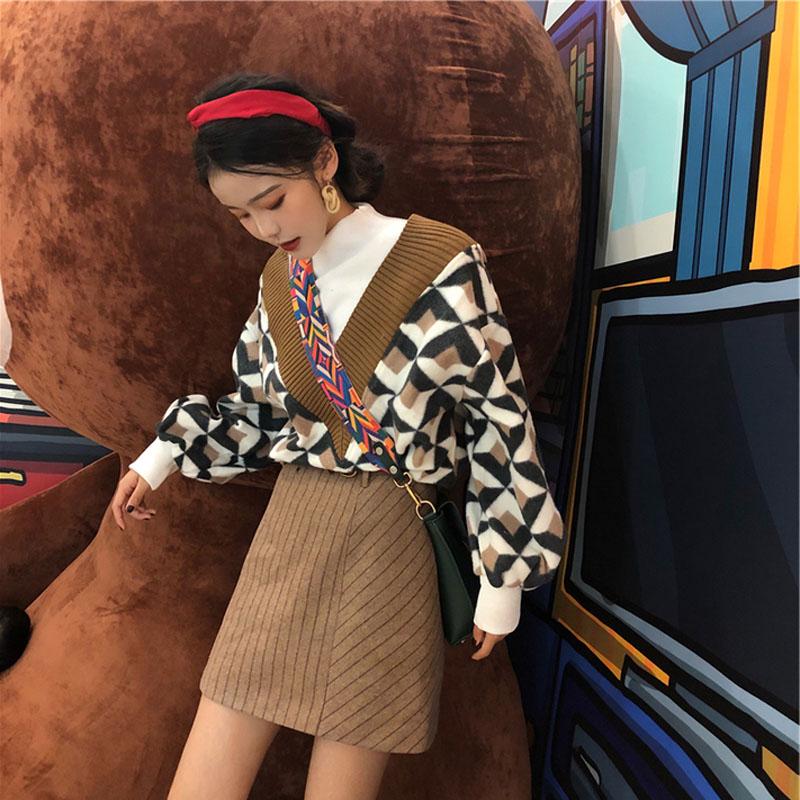 2018小清新款港味社会毛衣搭配短裙子两件套软妹套装女冬装时尚潮